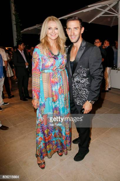 Marcel Remus and German presenter Frauke Ludowig during the Remus Lifestyle Night on August 3 2017 in Palma de Mallorca Spain