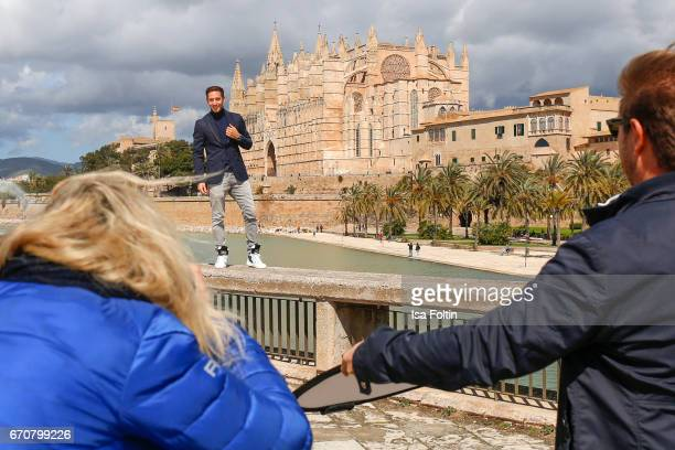 Marcel Remus behind the scenes at the Photoshooting with Lucia Strunz for his shoe collection on March 25 2017 in Palma de Mallorca Spain