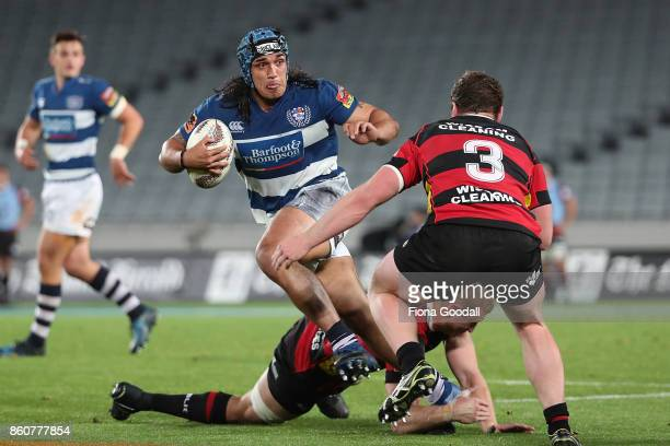 Marcel Renata of Auckland fends during the round nine Mitre 10 Cup match between Auckland and Canterbury at Eden Park on October 13 2017 in Auckland...