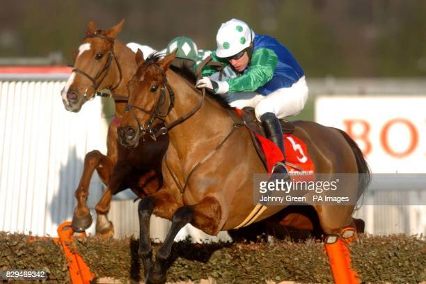 Marcel ridden by T J Murphy leads from Chilling Place ridden by R Johnson Marcel won the race from second place It's Just Harry with Chilling Place...