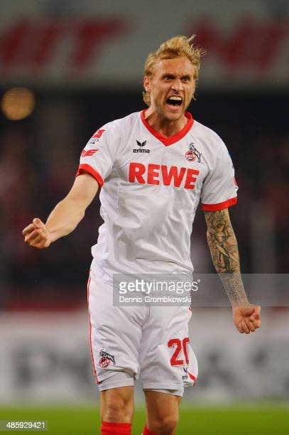 Marcel Risse of 1 FC Koeln celebrates his team's first goal during the Second Bundesliga match between 1 FC Koeln and VfL Bochum at...