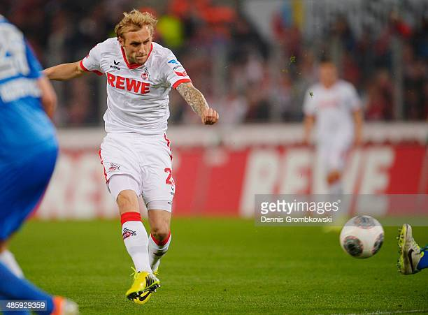 Marcel Risse of 1 FC Koeln scores his team's first goal during the Second Bundesliga match between 1 FC Koeln and VfL Bochum at RheinEnergieStadion...