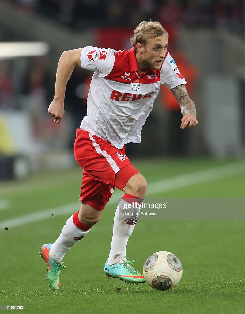 Marcel Risse of Cologne controls the ball during the 2nd Bundesliga match between 1. FC Koeln and Greuther Fuerth at RheinEnergieStadion on February 24, 2014 in Cologne, Germany.