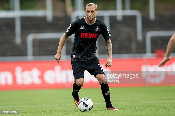 Marcel Risse of FC Koeln plays the ball during the preseason friendly match between Fortuna Koeln and 1 FC Koeln at Sued Stadion on July 26 2016 in...