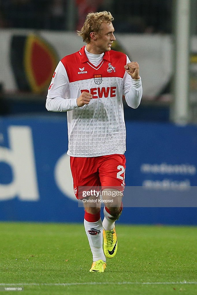 <a gi-track='captionPersonalityLinkClicked' href=/galleries/search?phrase=Marcel+Risse&family=editorial&specificpeople=4331527 ng-click='$event.stopPropagation()'>Marcel Risse</a> of Koeln celebrates the first goal during the Second Bundesliga match between 1. FC Koeln and 1. FC Union Berlin at RheinEnergieStadion on November 4, 2013 in Cologne, Germany.