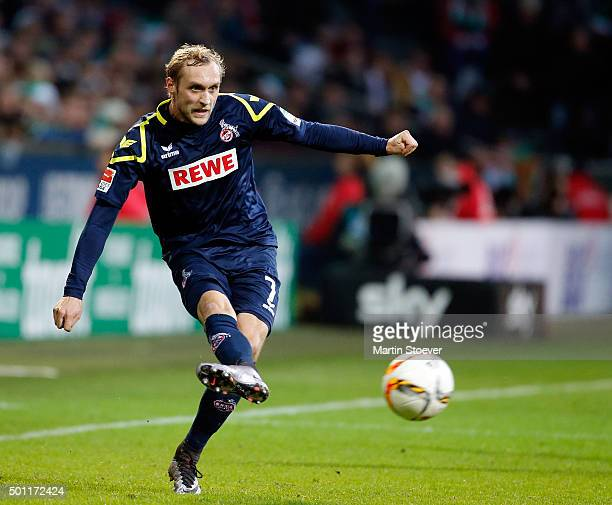 Marcel Risse of Koeln plays the ball during the Bundesliga match between Werder Bremen and 1 FC Koeln at Weserstadion on December 12 2015 in Bremen...