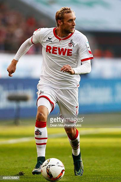 Marcel Risse of Koeln runs with the ball during the Bundesliga match between 1 FC Koeln and TSG 1899 Hoffenheim held at RheinEnergieStadion on...