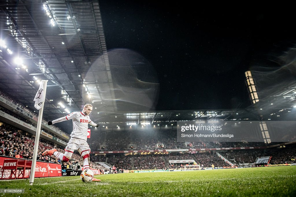 <a gi-track='captionPersonalityLinkClicked' href=/galleries/search?phrase=Marcel+Risse&family=editorial&specificpeople=4331527 ng-click='$event.stopPropagation()'>Marcel Risse</a> of Koeln takes a corner kick during the Bundesliga match between 1. FC Koeln and Eintracht Frankfurt at RheinEnergieStadion on February 13, 2016 in Cologne, Germany.