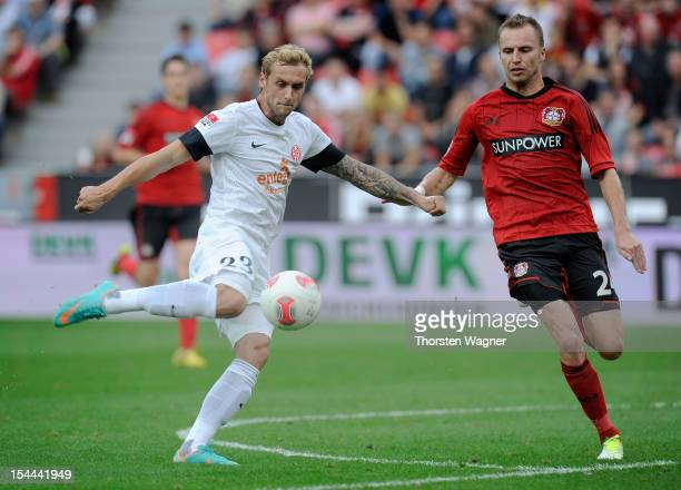 Marcel Risse of Mainz is scoring his teams second goal during the Bundesliga match between Bayer 04 Leverkusen and FSV Mainz 05 at BayArena on...