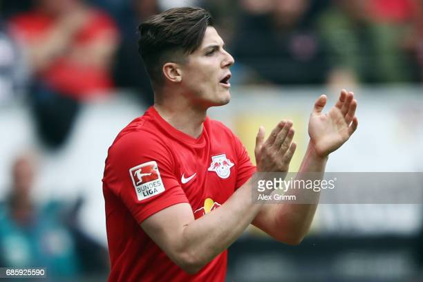 Marcel Sabitzer of Leipzig celebrates his team's first goal during the Bundesliga match between Eintracht Frankfurt and RB Leipzig at...