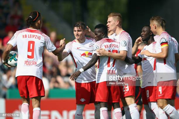 Marcel Sabitzer of Leipzig celebrates his team's second goal with team mates during the DFB Cup first round match between Sportfreunde Dorfmerkingen...