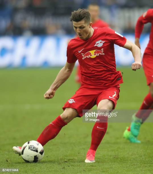 Marcel Sabitzer of Leipzig controls the ball during the Bundesliga match between FC Schalke 04 and RB Leipzig at VeltinsArena on April 23 2017 in...