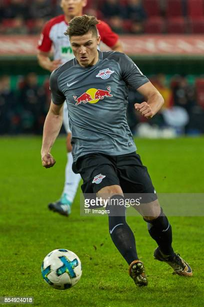 Marcel Sabitzer of Leipzig controls the ball during the Bundesliga match between FC Augsburg and RB Leipzig at WWKArena on September 19 2017 in...