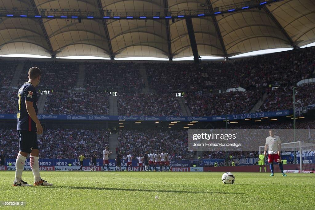 Marcel Sabitzer of Leipzig during the Bundesliga match between Hamburger SV and RB Leipzig at Volksparkstadion on September 17, 2016 in Hamburg, Germany.