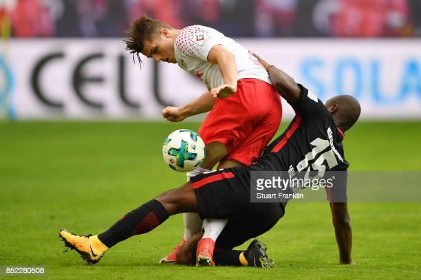 Marcel Sabitzer of Leipzig fights for the ball with Jetro Willems of Frankfurt during the Bundesliga match between RB Leipzig and Eintracht Frankfurt...