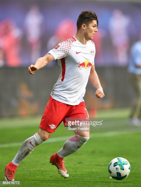 Marcel Sabitzer of Leipzig in action during the Bundesliga match between RB Leipzig and Eintracht Frankfurt at Red Bull Arena on September 23 2017 in...