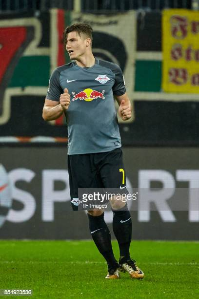 Marcel Sabitzer of Leipzig looks on during the Bundesliga match between FC Augsburg and RB Leipzig at WWKArena on September 19 2017 in Augsburg...