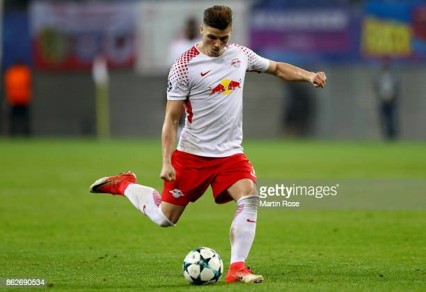 Marcel Sabitzer of Leipzig runs with the ball during the UEFA Champions League group G match between RB Leipzig and FC Porto at Red Bull Arena on...