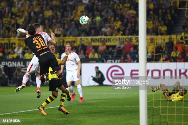 Marcel Sabitzer of Leipzig scores a goal past Roman Buerki of Dortmund to make it 11 during the Bundesliga match between Borussia Dortmund and RB...