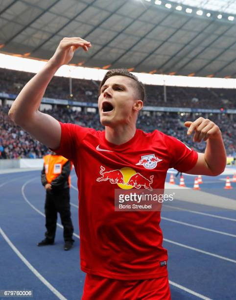Marcel Sabitzer of RB Leipzig celebrates team's the third goal during the Bundesliga match between Hertha BSC and RB Leipzig at Olympiastadion on May...