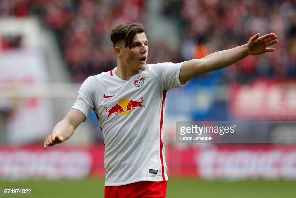 Marcel Sabitzer of RB Leipzig gestures during the Bundesliga match between RB Leipzig and FC Ingolstadt 04 at Red Bull Arena on April 29 2017 in...