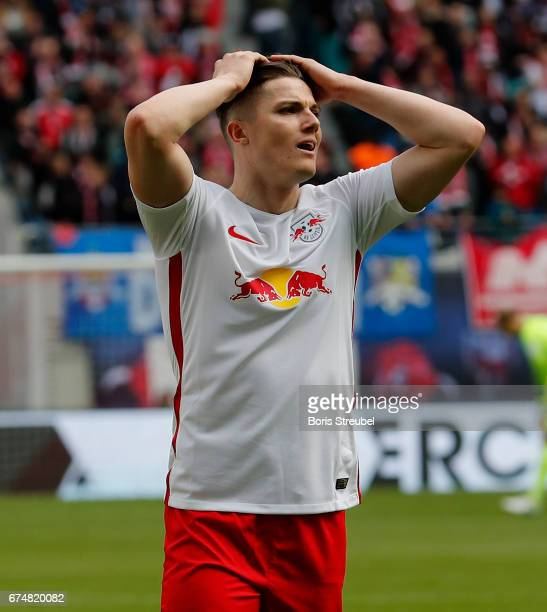 Marcel Sabitzer of RB Leipzig reacst after the Bundesliga match between RB Leipzig and FC Ingolstadt 04 at Red Bull Arena on April 29 2017 in Leipzig...