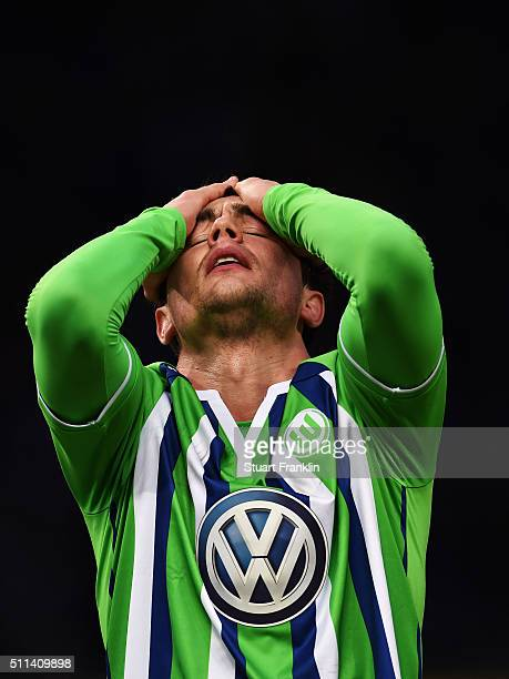 Marcel Schäfer of Wolfsburg reacts during the Bundesliga match between Hertha BSC and VfL Wolfsburg at Olympiastadion on February 20 2016 in Berlin...