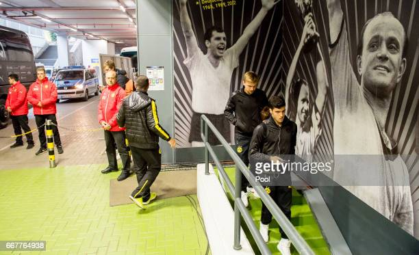 Marcel Schmelzer and Mikel Merino of Borussia Dortmund arrive prior to the UEFA Champions League Quarter Final First Leg match between Borussia...