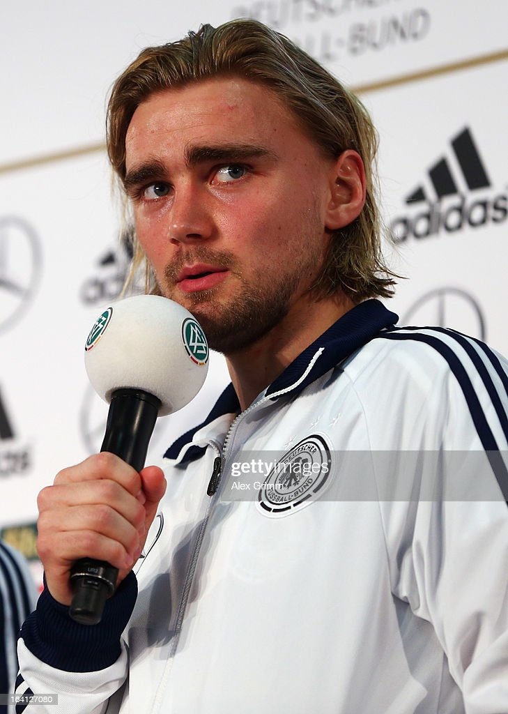 <a gi-track='captionPersonalityLinkClicked' href=/galleries/search?phrase=Marcel+Schmelzer&family=editorial&specificpeople=5443925 ng-click='$event.stopPropagation()'>Marcel Schmelzer</a> attends a Germany press conference at the DFB headquarters on March 20, 2013 in Frankfurt am Main, Germany.