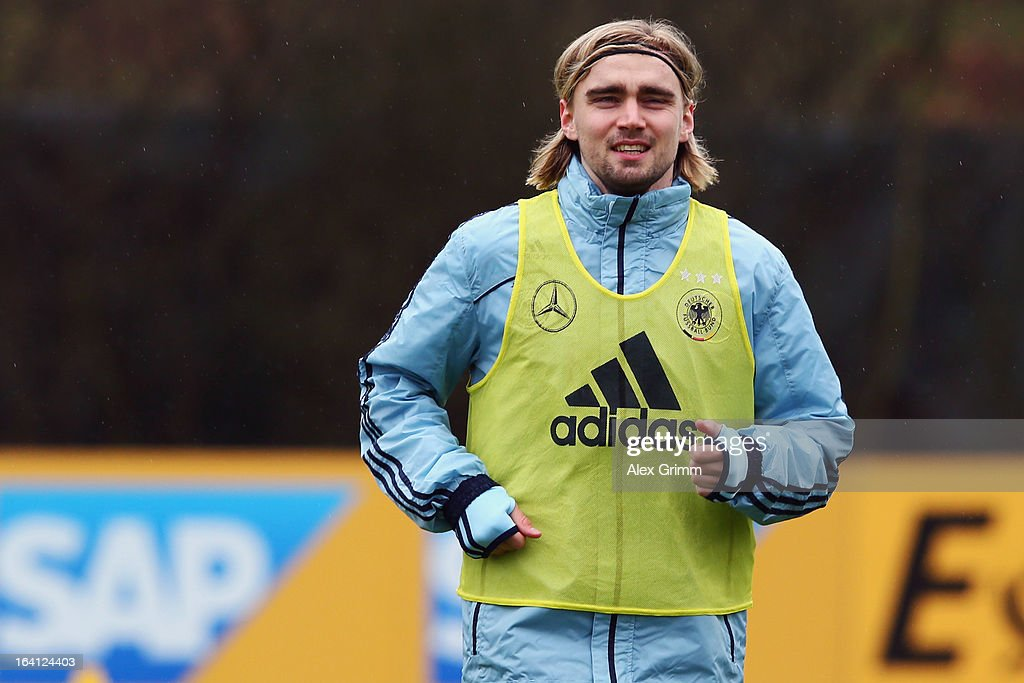 <a gi-track='captionPersonalityLinkClicked' href=/galleries/search?phrase=Marcel+Schmelzer&family=editorial&specificpeople=5443925 ng-click='$event.stopPropagation()'>Marcel Schmelzer</a> attends a Germany training session at 'Kleine Kampfbahn' training ground on March 20, 2013 in Frankfurt am Main, Germany.