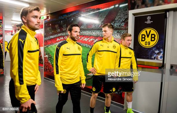 Marcel Schmelzer Gonzalo Castro Dzenis Burnic and Felix Passlack of Borussia Dortmund on their way to the training session prior to the UEFA...