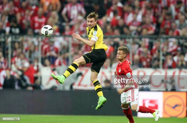 Marcel Schmelzer Joshua Kimmich FC Bayern München during the Bundesliga match between Bayern Muenchen and Borussia Dortmund at Allianz Arena on April...