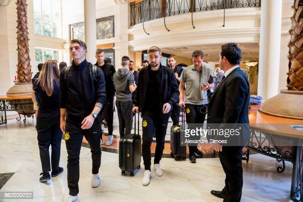Marcel Schmelzer of Borussia Dortmund after arriving at the hotel for the UEFA Champions League First Qualifying Round 1st Leg match between APOEL...
