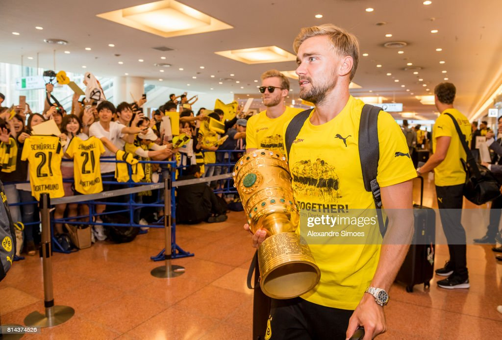 Marcel Schmelzer of Borussia Dortmund arrived at the airport on July 14, 2017 in Tokyo, Japan.