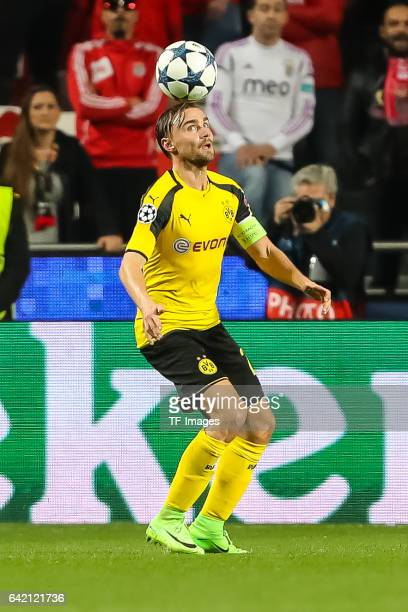 Marcel Schmelzer of Borussia Dortmund controls the ball during the UEFA Champions League Round of 16 First Leg match between SL Benfica and Borussia...