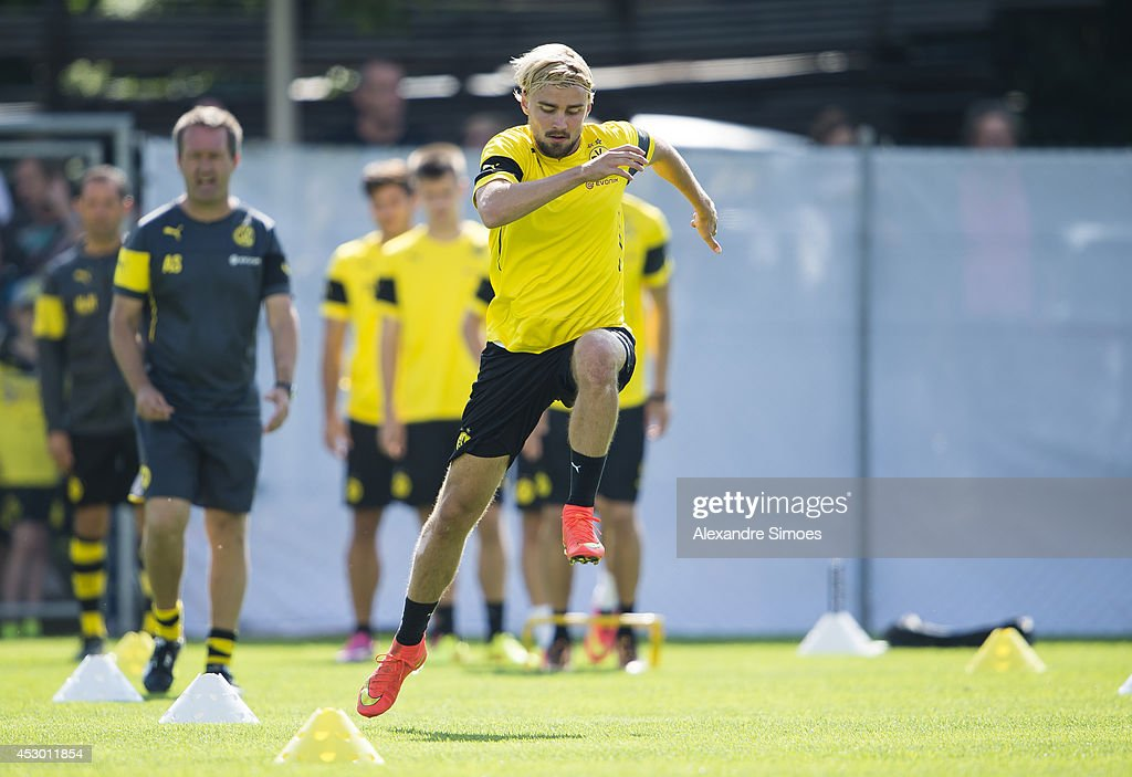 <a gi-track='captionPersonalityLinkClicked' href=/galleries/search?phrase=Marcel+Schmelzer&family=editorial&specificpeople=5443925 ng-click='$event.stopPropagation()'>Marcel Schmelzer</a> (BVB) of Borussia Dortmund during a training session in the Borussia Dortmund training camp on July 31, 2014 in Bad Ragaz, Switzerland.