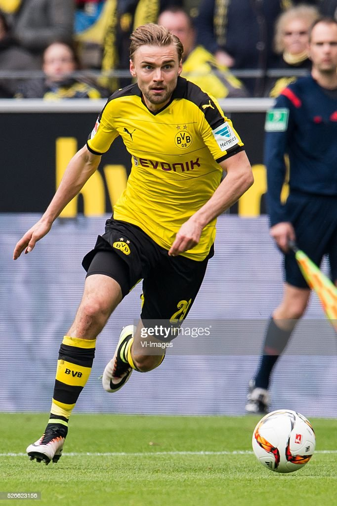 Marcel Schmelzer of Borussia Dortmund during the Bundesliga match between Borussia Dortmund and VfL Wolfsburg on April 30, 2016 at the Signal Idun Park stadium in Dortmund, Germany.