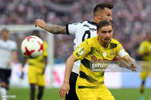 Marcel Schmelzer of Borussia Dortmund in action against Haris Seferovic of Eintracht Frankfurt during the DFB Cup Final 2017 soccer match between...