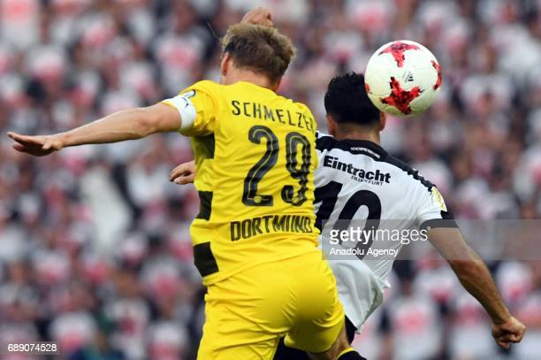 Marcel Schmelzer of Borussia Dortmund in action against Marco Fabian of Eintracht Frankfurt during the DFB Cup Final 2017 soccer match between...
