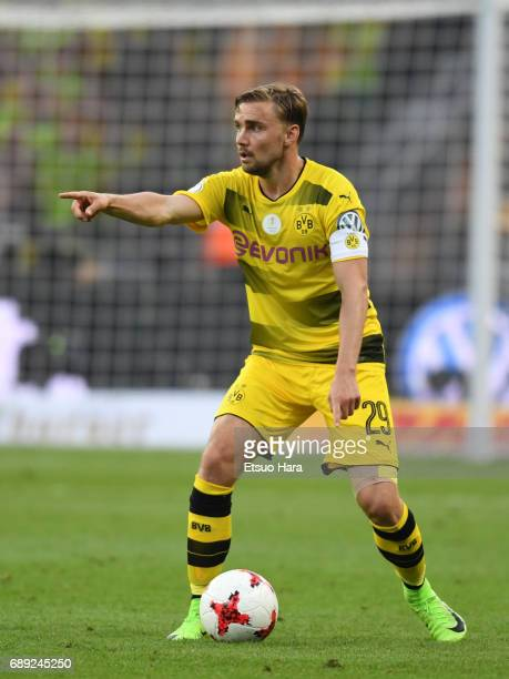 Marcel Schmelzer of Borussia Dortmund in action during the DFB Cup Final match between Eintracht Frankfurt and Borussia Dortmund at Olympiastadion on...
