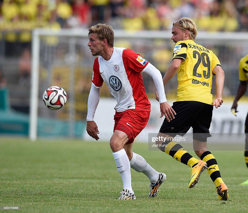Marcel Schmelzer of Borussia Dortmund in action during the Hessen Kassel v Borussia Dortmund Friendly Match on July 15 2014 Kassel Germany