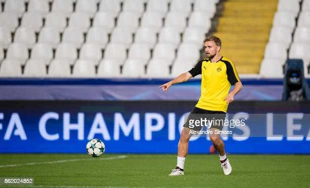 Marcel Schmelzer of Borussia Dortmund in action during the training session prior to the UEFA Champions League First Qualifying Round 1st Leg match...
