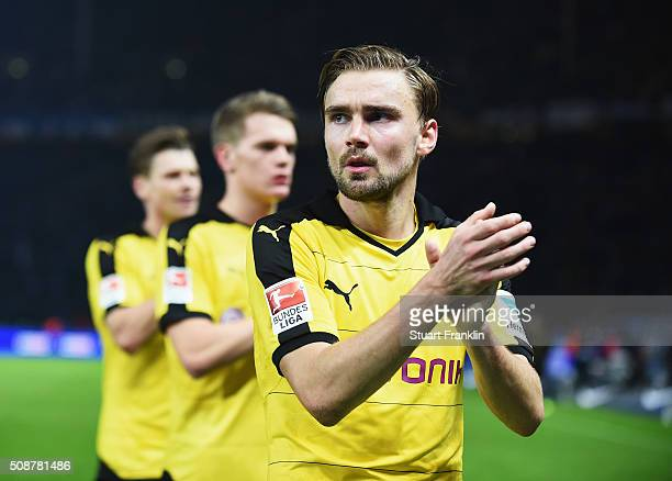 Marcel Schmelzer of Dortmund claps during the Bundesliga match bewteen Hertha BSC and Borussia Dortmund at Olympiastadion on February 6 2016 in...