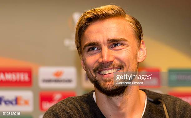 Marcel Schmelzer of Dortmund during press conference prior to the Europa League match between Borussia Dortmund and FC Porto at the Signal Iduna Park...