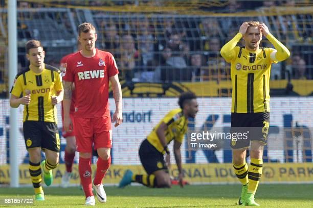 Marcel Schmelzer of Dortmund gestures during the Bundesliga match between Borussia Dortmund and FC Koeln at Signal Iduna Park on April 29 2017 in...