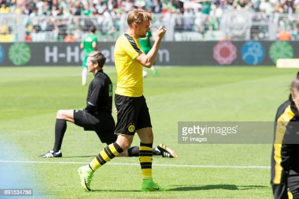 Marcel Schmelzer of Dortmund injured during the Bundesliga match between Borussia Dortmund and Werder Bremen at Signal Iduna Park on May 20 2017 in...