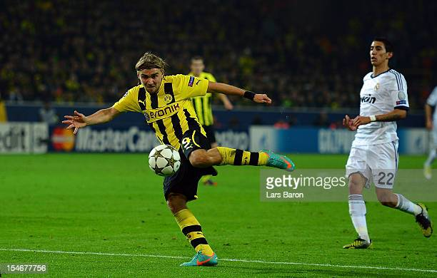 Marcel Schmelzer of Dortmund scores his teams second goal during the UEFA Champions League group D match between Borussia Dortmund and Real Madrid CF...