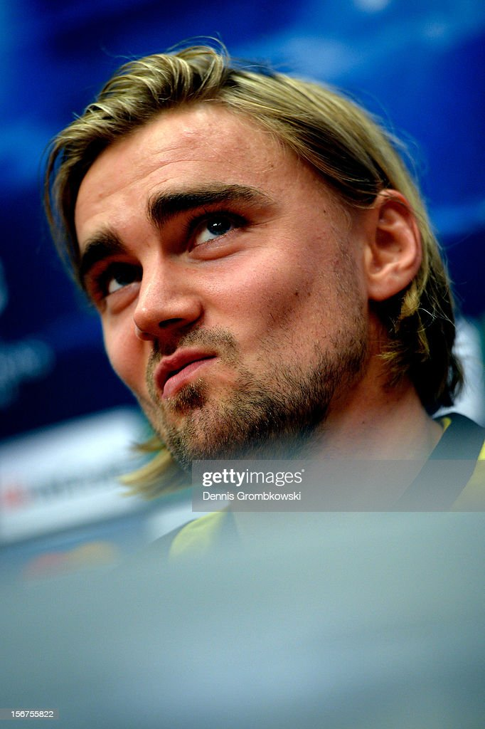 Marcel Schmelzer of Dortmund takes part in a press conference ahead of the UEFA Champions League match against Ajax Amsterdam on November 20, 2012 in Amsterdam, Netherlands.