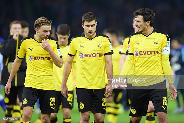 Marcel Schmelzer Sokratis Papastathopoulos and Mats Hummels of Borussia Dortmund after the game between Hertha BSC and Borussia Dortmund on February...