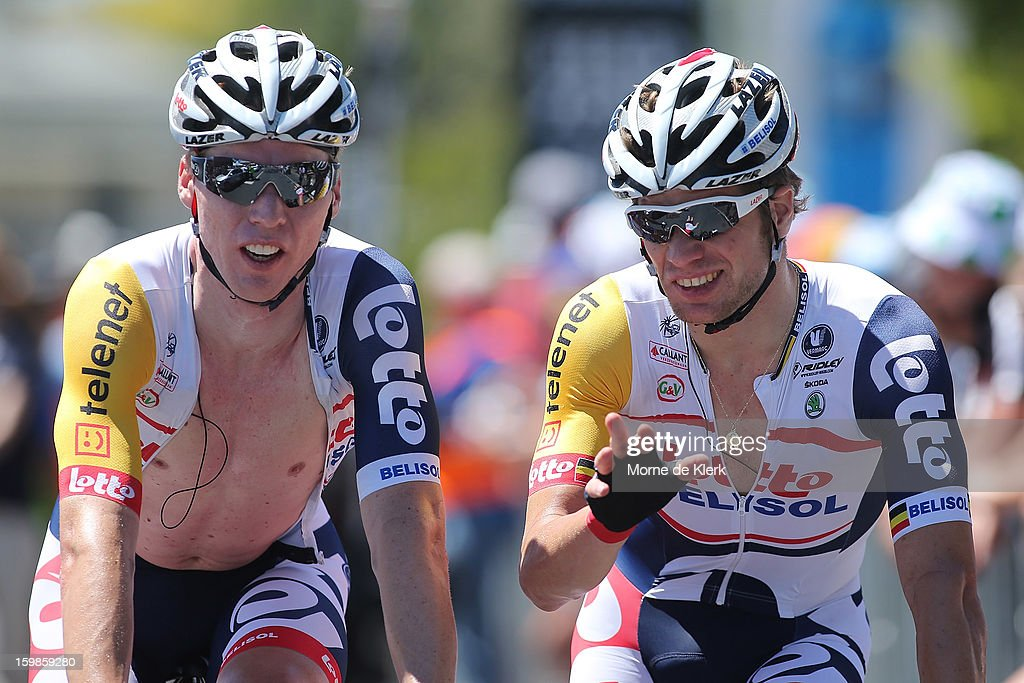 Marcel Sieberg of Germany and Jurgen Roelandts of Belgium, both from the Lotto Belisol Team celebrate after stage 1 of the Tour Down Under bicycle race between Prospect and Lobethal in the Adelaide Hills on January 22, 2013 in Adelaide, Australia.
